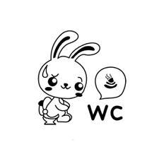 Piece Cartoon Funny Cute Toilet Sticker Home Decor Rabbit Pattern Wall Sticker