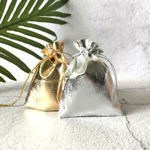 Lot of 50 Gold Silver Stain Jewelry Gift Wedding Favors Bags Pouch Top