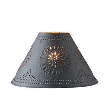 """Country new 17"""" textured black punched tin lamp shade / nice"""