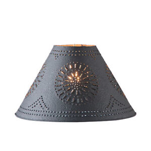 """12"""" Textured black punched tin lamp shade"""