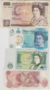 FOUR £10 SOMERSET/£5 CLELAND/£1 PAGE & 10/- FFORDE NOTES IN USED CONDITION