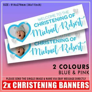 """2x PERSONALISED CHRISTENING / BAPTISM PHOTO BIRTHDAY BANNERS ANY NAME 36x11"""""""