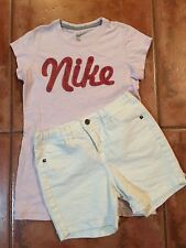☀️ Girls Outfit NIKE Pink Tee Shirt XL & White Adjustable Waist Shorts 14 MINT