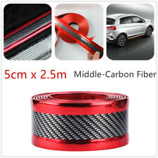 Car Door Sill Bumper Pedal Protector Strip Red Sides Carbon Fiber Style 2.5M*5cm
