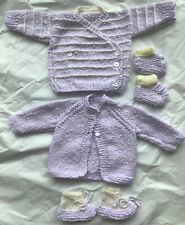 Brand New Two Knitted Baby Lilac Cardigans And Bootees Size 0-3 Months.