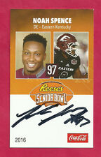 NOAH SPENCE 2016 SENIOR BOWL AUTO EASTERN KENTUCKY COLONELS TAMPA BAY BUCCANEERS