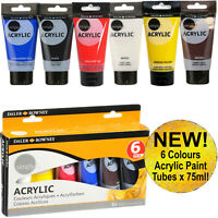New! DALER ROWNEY 6 Brilliant Colours x 75ml Acrylic Paint Tubes Set Painting