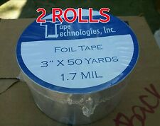 "(2 Rolls) HVAC Self-adhesive Tape Foil Tape 3"" X 1.7 mil X 150 ft each"