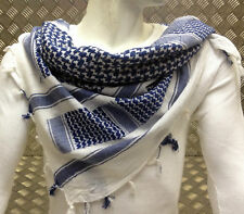 100% Cotton Shemagh / Arab Scarf / Pashmina / Wrap / Sarong. Blue on White - NEW
