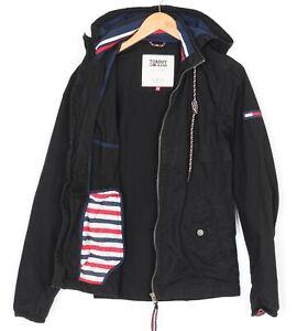 TOMMY HILFIGER DENIM Hooded Black Jacket Men Size XS MJ2606