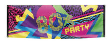 80s 1980s Party Retro Party Poster Fabric Garland Neon Banner Flag Decoration BN