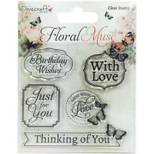 Floral Muse Sayings Clear Unmounted Rubber Stamps Set TRIMCRAFT DCSTP062 New