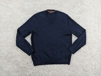 Banana Republic Merino Wool Sweater Men Large V-Neck Navy Blue Pullover Classy