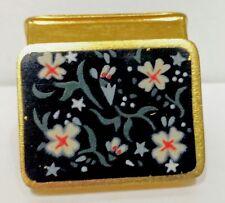 Mint Vtg Signed Volupte USA Enamel Hinged Brass Box Pocket Snuff Patch Pill Box