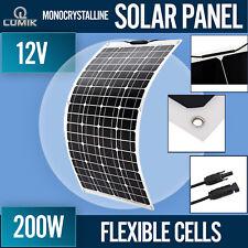 200W 12V Flexible Solar Panel Waterproof Caravan Camping Power Monocrystalline