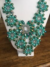 Dena G Turquoise Crystal Bib Necklace Multi Color Beads Statement NWT
