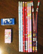 Lot of 10 NEW Hello Kitty Sanrio Pencils & Erasers, Vintage 1996-2001, RARE