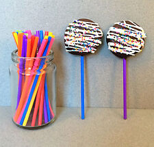 "4.5"" Plastic Rainbow Lollipop Sticks, Rainbow Sucker Sticks, Cake Pop Sticks"