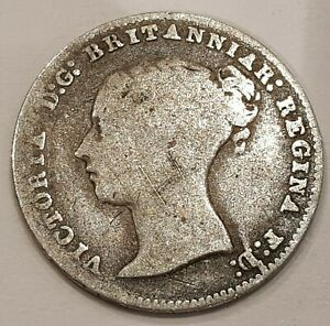 1859 Young Head Victoria Three Pence Silver Coin L2