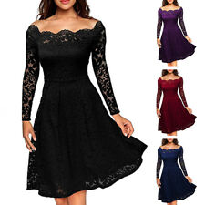 Women Lace Long Sleeve Cocktail Prom Gown Party Evening Skater Dress Size UK8-18