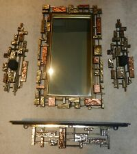 Brutalist Syroco MCM Mirror Shelf & Sconce 4pc set composite Canada late 60s 70s
