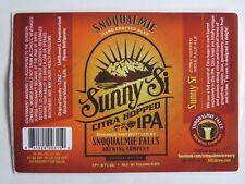 Bier Etikett Aufkleber ~ Snoqualmie falls Brewing Co Sunny Si Citra Ipa ~