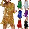 Women's Sequin Latin Salsa Tango Rumba Cha Cha Ballroom Dance Dress Skirt K4