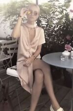 Zara Beige Pink Knotted Dress With Button Details Size M UK 12 Bnwt