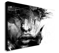 ABSTRACT BLACK AND WHITE FEMALE FACE Canvas Wall Art Print. Various Sizes