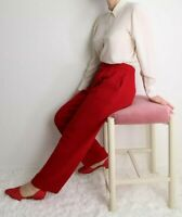 St. John Collection Marie Gray Santana Knit Wool Blend Red Pants Pleats Sz 6