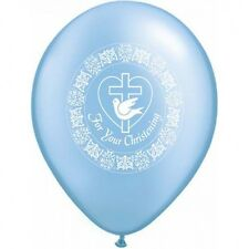 Party Supplies Baby Boy Christening Blue Dove Latex Balloons Pk 10