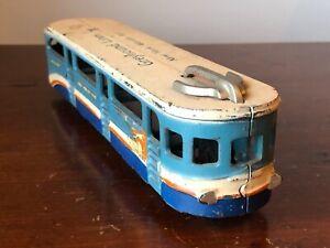 "1939 NY Worlds Fair Arcade Toy Bus Cast Iron 10 3/8"" Greyhound Lines Bus Trolley"