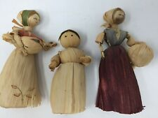 Corn Husk Dolls Handmade Set of 3 with Accessories Vintage Traditional