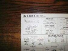 1962 Mercury Meteor SIX Series Models 170 Cubic Inch L6 Tune Up Chart