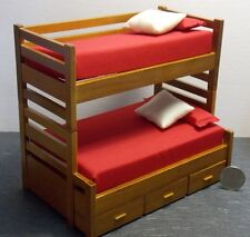 Dollhouse Miniature Bunk Bed Beds Walnut 1:12 one inch scale W2 Dollys Gallery