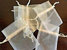 """40 Cream / Ivory Organza Favor Pouch Bags w Drawstring Weddings 4"""" x 3"""""""
