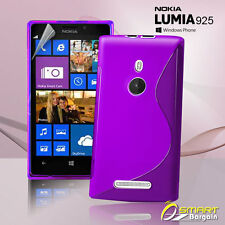 Purple S Curve Gel Case For Nokia Lumia 925 + SP Tpu Jelly Skin Soft Cover