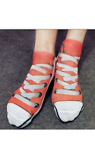 Canvas shoe socks. Novelty, fun. One size. New. Free UK p&p . Red.  Gift idea.