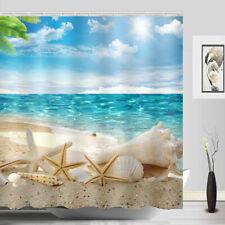 Sunshine Beach Starfish Shower Curtain Seashell Sandy Polyester Fabric set
