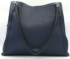Kate Spade Jackson Navy Blue Leather Large Shoulder Tote WKRU6246 $499 Retail FS