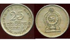 SRI LANKA   25 cents 1975   ( bis )