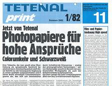 Prospekt Tetenal Print 11 1/82 Photopapiere Antigilb Emofin Farbfotografiken
