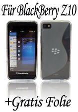 Silikon Schutz Zubehör Gummihülle + Display Folie BlackBerry Z10 // Transparent
