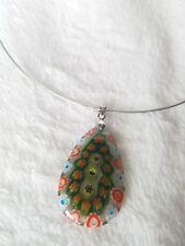 Green Orange Blue Floral Patterned Glass Pendant Necklace
