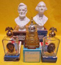 5 AVON GLASS EMPTY DECANTER BOTTLE IN ORIGINAL BOX WASHINGTON LINCOLN CAPITOL
