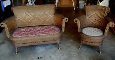 ANTIQUE (19th CENTURY) HEYWOOD BROS. and CO. SETTEE & CHAIR (MATCHING PAIR)