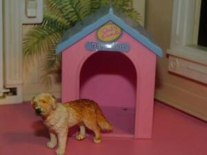 Dollhouse Miniature Dog House & Puppy Lot fits Fisher Price Loving Family Dollho