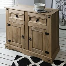 Small Sideboard Cabinet Solid Wood Rustic Cupboard 2 Drawer Storage Hall Unit