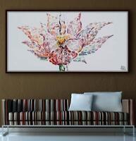 """Lotus Flower painting 55"""" - Original oil painting on canvas,  Art Nouveau Style"""