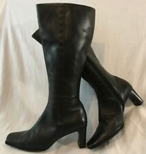 Dolcis Black Knee High Leather Lovely Boots Size 39 (349vv)